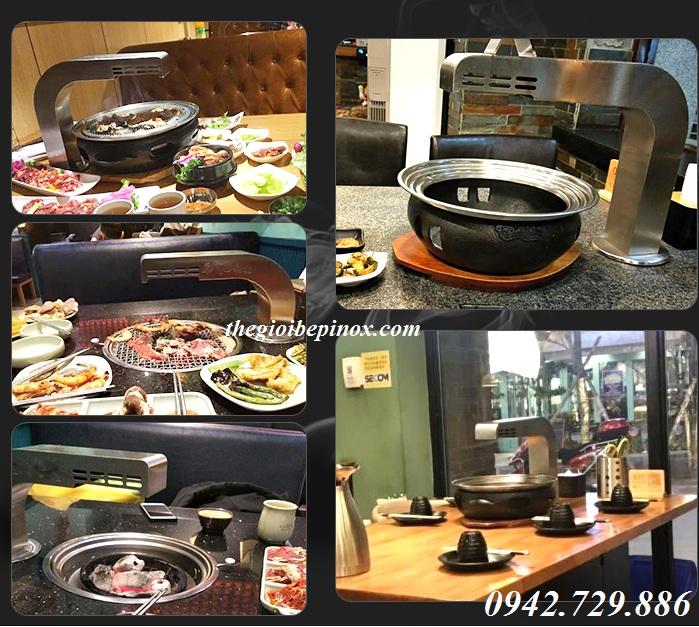 Lắp đặt hệ thống ống hút khói bếp nướng cong tại bàn nhà hàng