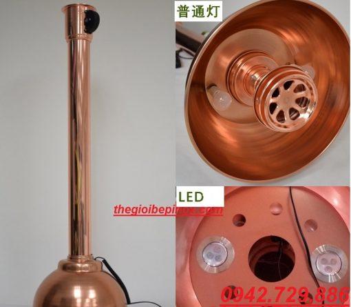 Ống hút khói mùi cứng màu đồng có chao đèn nhà hàng lẩu nướng Hàn Quốc
