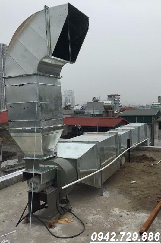 Hệ thống quạt hút ly tâm trực tiếp trên mái hệ thống hút khói nhà hàng lẩu nướng