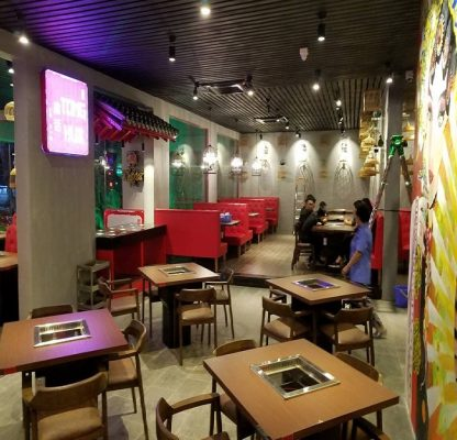 Mô hình nhà hàng lẩu 2 ngăn âm bàn nhà hàng