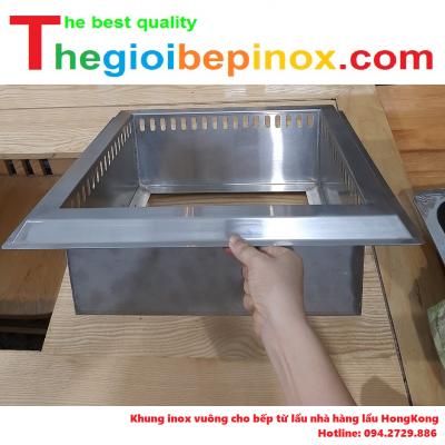 Khung inox vuông cho bếp từ lẩu nhà hàng lẩu Hongkong