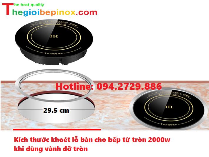 Kích thước tiêu chuẩn khoét lỗ bàn bếp từ tròn 2000w