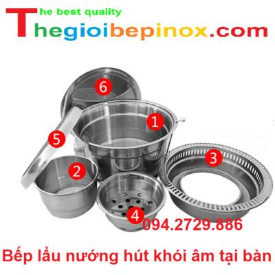Bếp lẩu nướng hút khói âm tại bàn giá rẻ tại Hà Nội - HCM