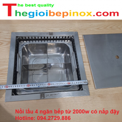 Nồi lẩu 4 ngăn - bếp từ 2000w có nắp đậy giá rẻ nhất Hà Nội - HCM