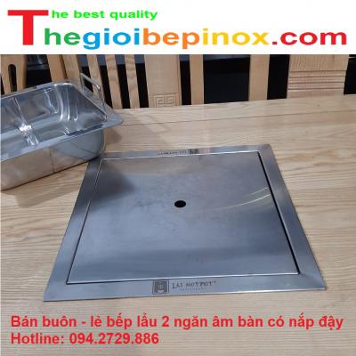 Bán buôn - lẻ bếp lẩu 2 ngăn âm bàn có nắp đậy giá rẻ ở Hà Nội - HCM