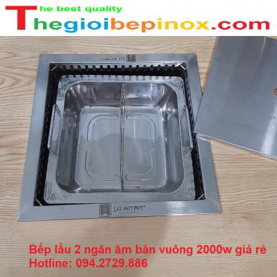 Bếp lẩu 2 ngăn âm bàn vuông 2000w giá rẻ Hà Nội - HCM