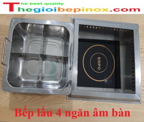 Bếp lẩu 4 ngăn âm bàn nhà hàng giá rẻ nhất Hà Nội - HCM