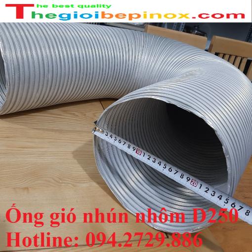 Ống gió nhún nhôm d250 chịu nhiệt giá rẻ ở Hà Nội