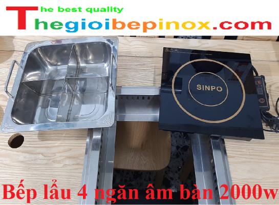 Bếp lẩu 4 ngăn âm bàn 2000w cho nhà hàng giá rẻ ở Hà Nội