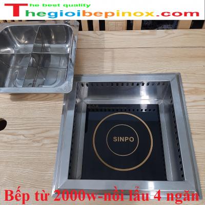 Bếp từ 2000w nồi lẩu 4 ngăn âm bàn vuông giá rẻ ở TPHCM