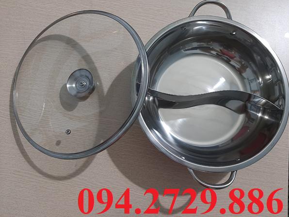 Nồi lẩu 2 ngăn tròn có nắp đậy bằng kính dùng để ăn lẩu - nấu lẩu tại bàn